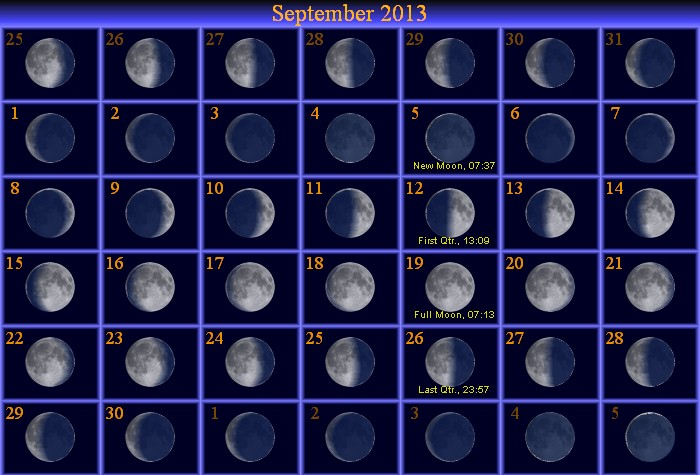 Starwatch moravian college astronomy september moon phase calendar sciox Image collections